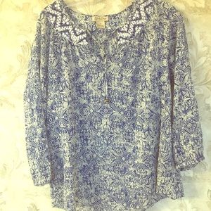 Lucky Brand Blue Print Top